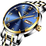 Mens Watches Fashion Simple Waterproof 30M Quartz Sports Watch,Blue Dial Stainless Steel Wrist Watch Auto Day Date Calendar Business Watch for Men