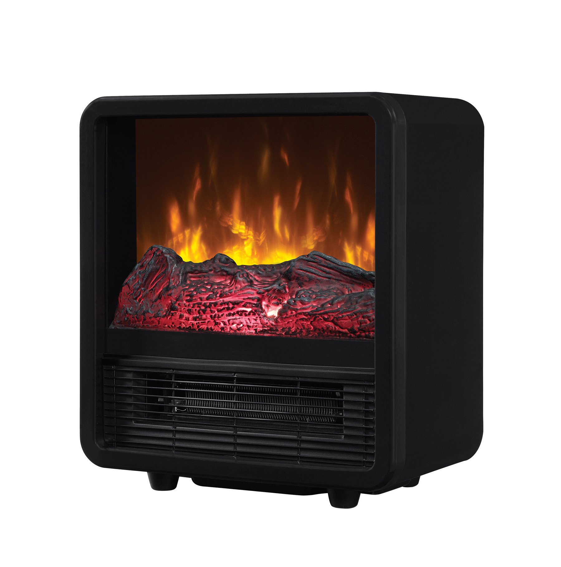 Twin-Star Home CFS-300-BLK Portable Electric Personal Space Heater Cube with Electric Fireplace, Black