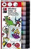 Marabu 0406000000123 - Window Color fun and fancy, 10 x 25 ml, inklusive 17 Vorlagen mit Kinder Motiven