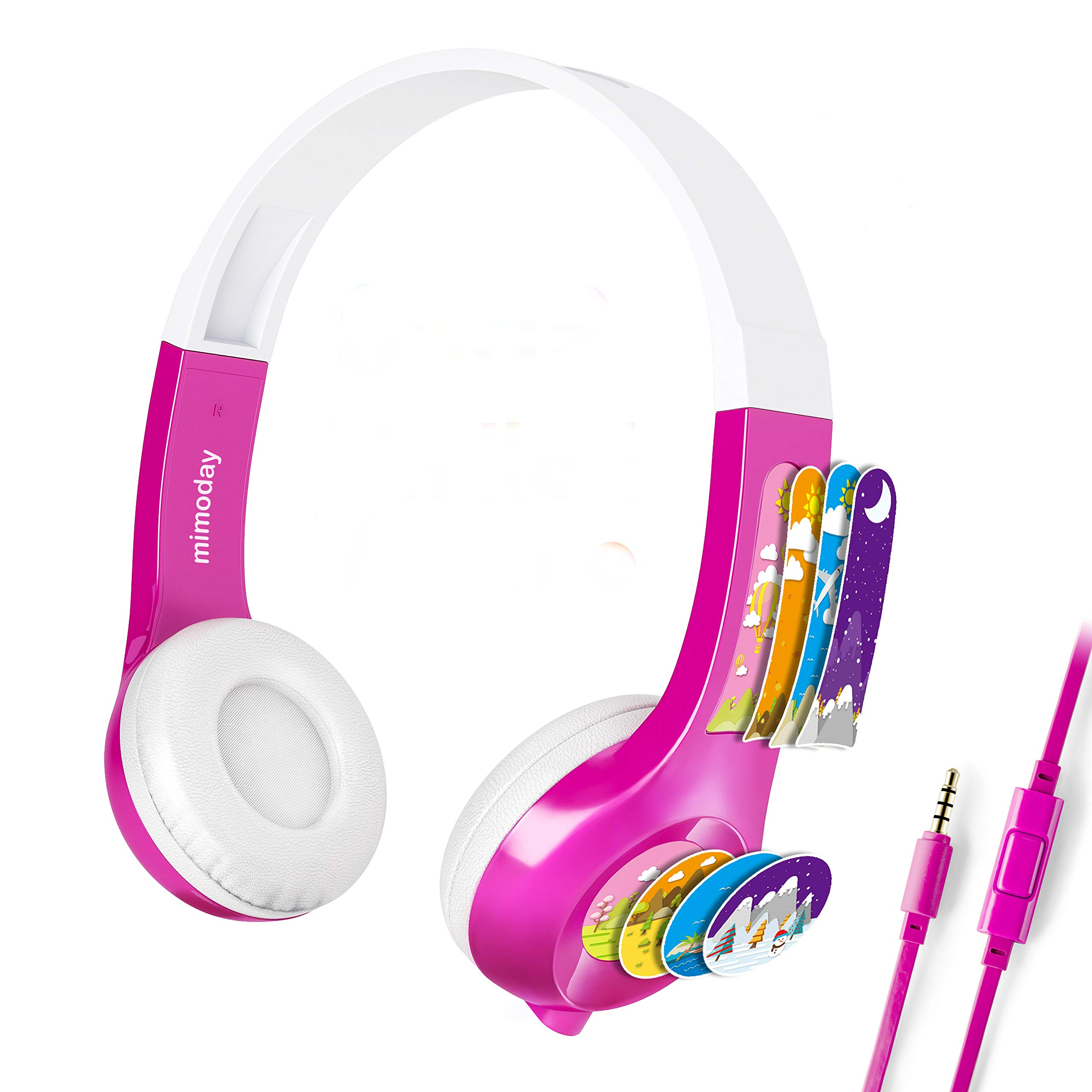 Mimoday Kids Headphones for Kindle Fire Kids Edition Tablet Volume Limiting with Microphone Over Ear Headphones for Boys Girls(Pink)