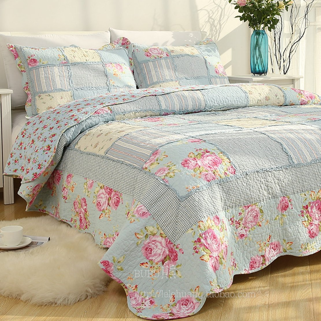 MAXYOYO Cotton Blue Rose Patchwork Comforter Set for Girls,Beautiful Plaid Floral Design Quilt Throw,Cotton Bedspreads Full/Queen Size