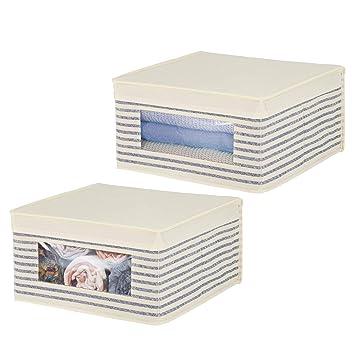 mDesign Juego de 2 cajas con tapa apilables para ropa, sábanas, etc. –