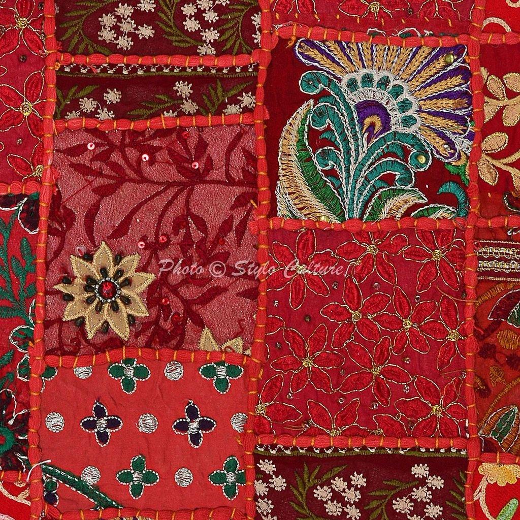 Amazon.com: Algodón Khambadi Patchwork Cojín decorativo ...