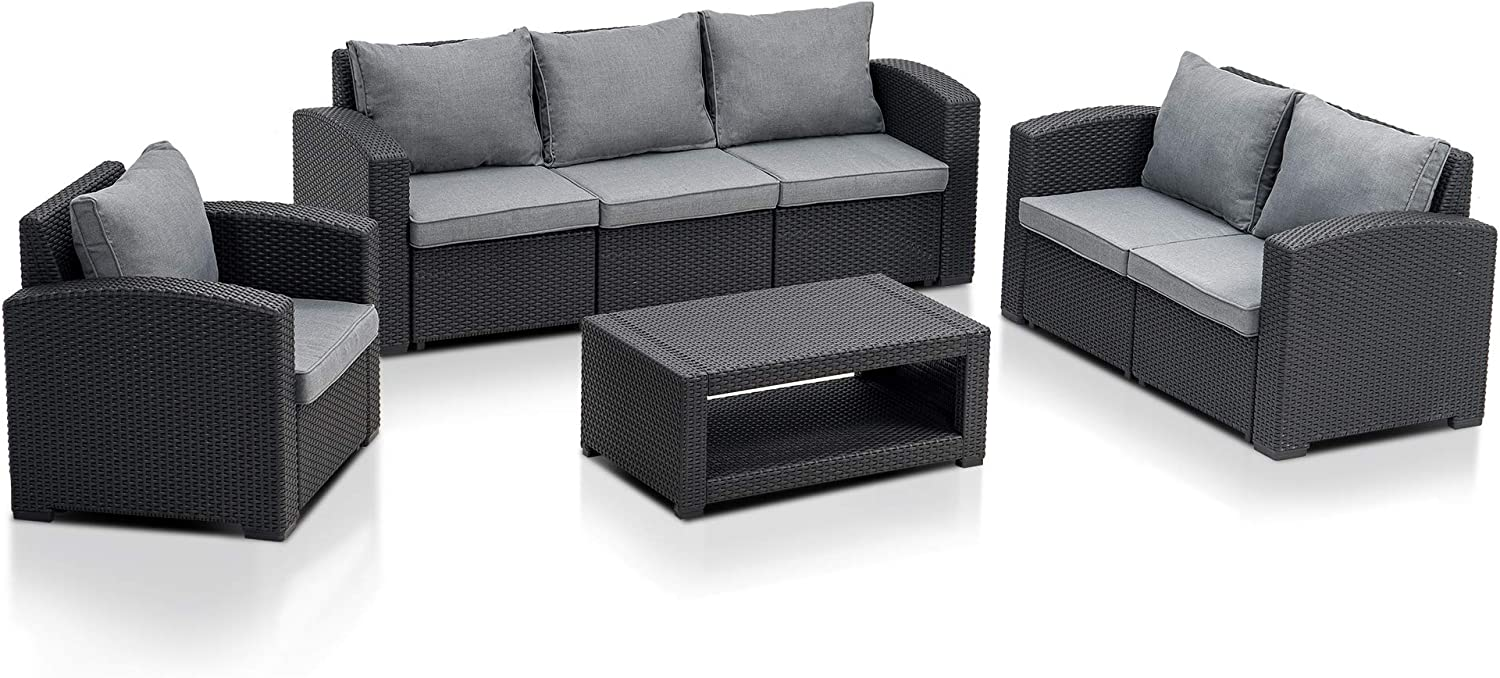 MCombo 7pcs Patio Furniture Set All-Weather Outdoor Sectional Sofa Rattan Pattern Patio Conversation Set w/Seat Cushions 6050-700 (Grey)