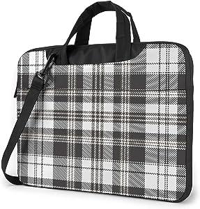 Laptop Messenger Houndstooth Tartan Plaid Shoulder Bag Briefcase Office Laptop Sleeve Case Luggage for Men Women 13 Inch