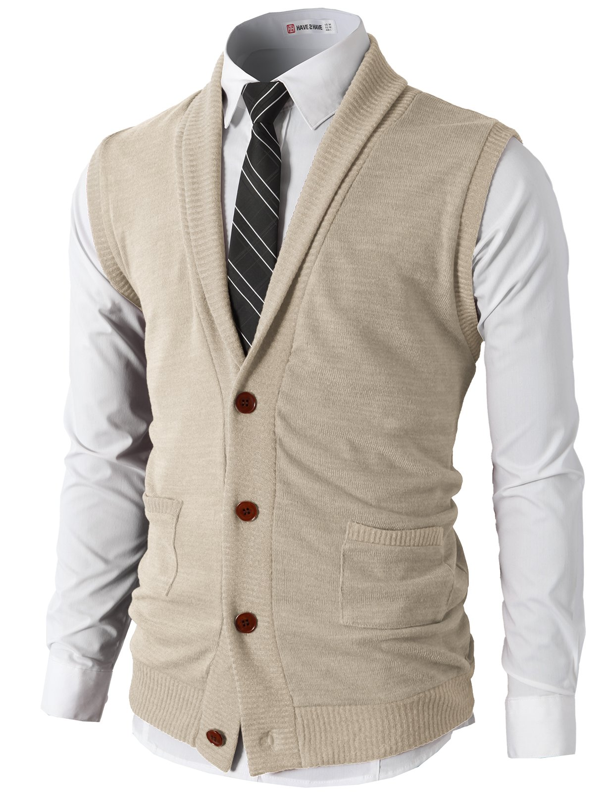 H2H Men's Daily Casual Shawl Collar Knitted Slim Fit Vest Ivory US M/Asia L (CMOV034) by H2H
