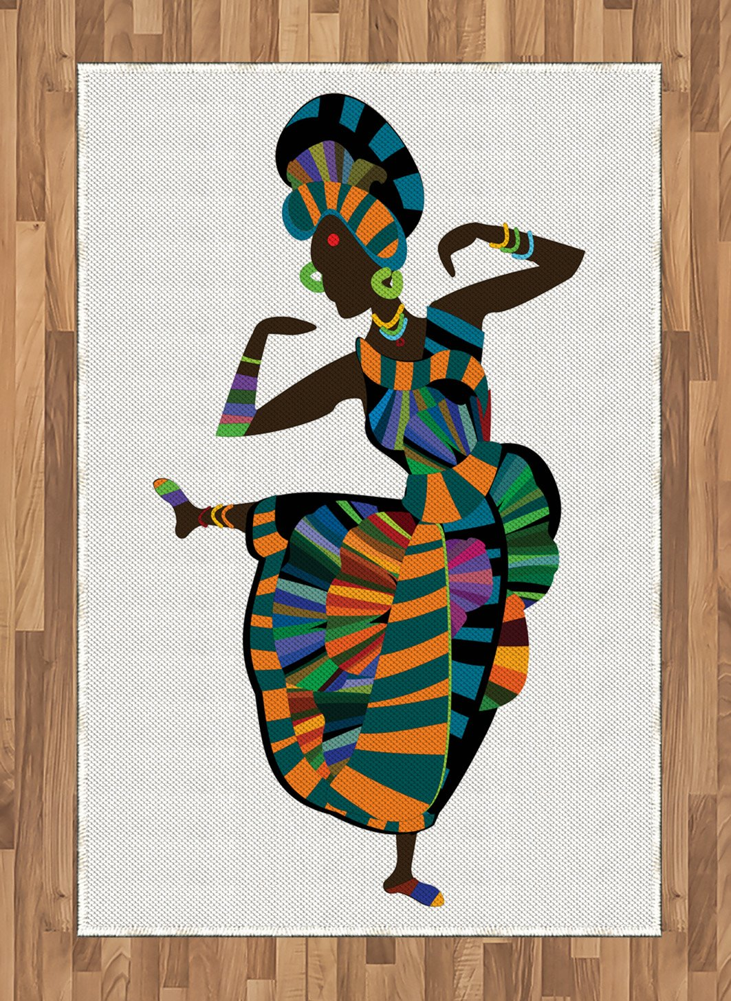 Ambesonne African Woman Area Rug, Black Girl in a Traditional Dress Performing an Ethnic Dance Native Zulu, Flat Woven Accent Rug for Living Room Bedroom Dining Room, 4 X 5.7 FT, Multicolor