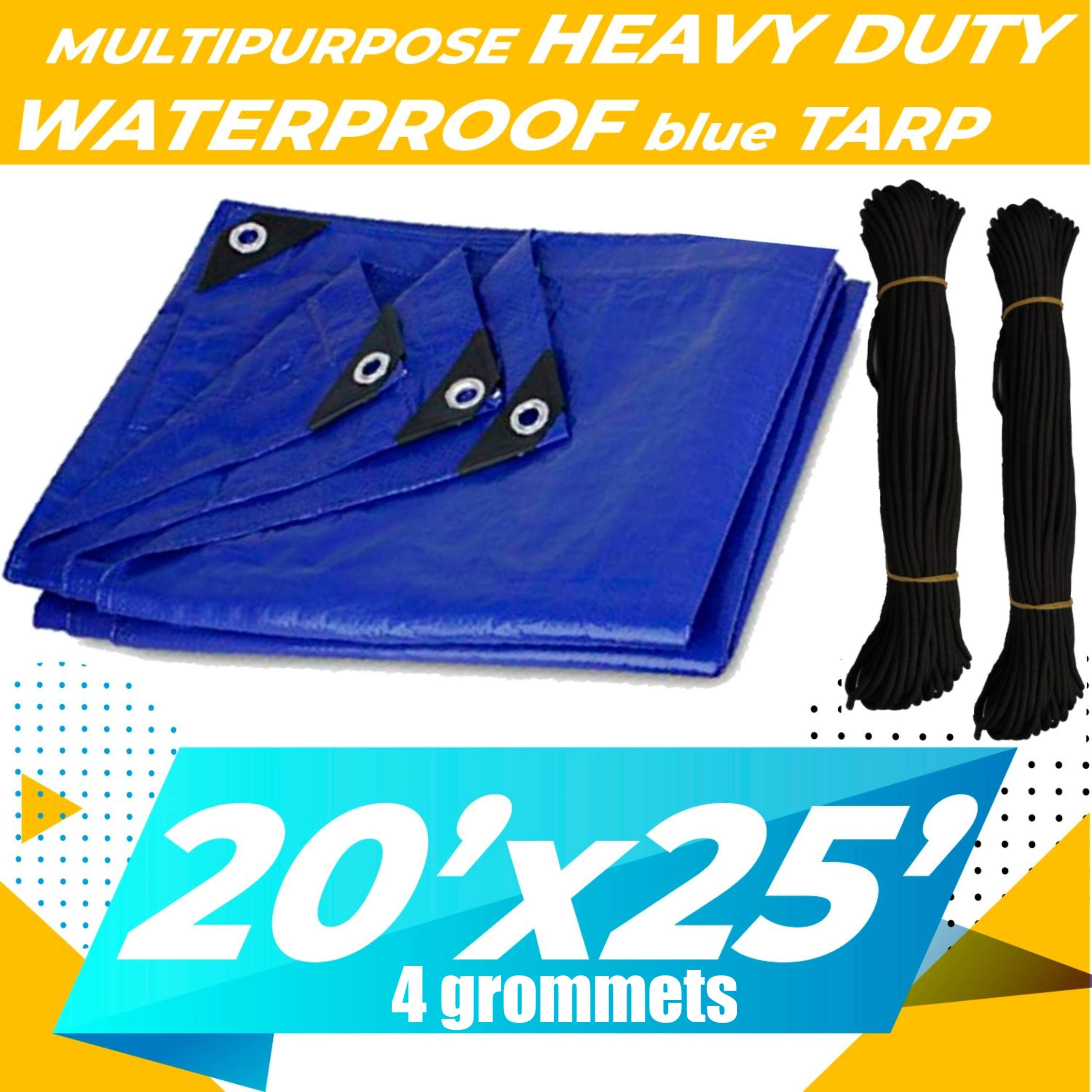 20'x25' Heavy Duty Waterproof Tarp - Multi-Purpose Blue Tarpaulin with  4 Grommets, Reinforced Edges and Nylon Paracord for Outdoor Rain Shelter, Ground Cover, Boat, RV, Car, Roof or Pool Cover