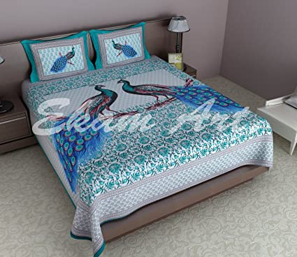 Peacock Bedsheets For Double Bed Cotton
