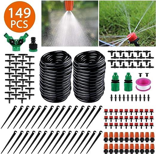 FAMS Kit de riego de jardín, 149 Piezas de riego DIY Micro Invernadero aspersor automático Gotas de riego, riego de jardín, Cama de Flores, Plantas de terraza: Amazon.es: Jardín