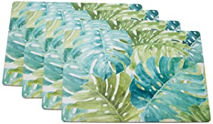 Cala Home 4 Premium Hardboard Placemats Table Mats, Tropical Green 81850