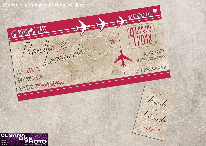 Partecipazioni matrimonio personalizzate - inviti nozze biglietto aereo con cartina vintage e cuore boardingpass disponibile in tutti i colori 10 pezzi