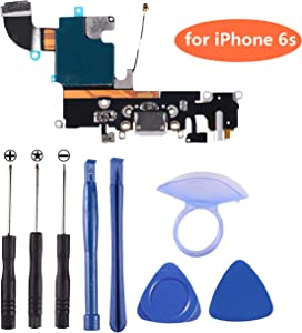 D-FLIFE OEM Charging Port Dock Connector Flex Cable w/Microphone + Headphone Audio Jack Port Ribbon Replacement Part Compatible for iPhone 6s All Carriers (Black/Space Gray)
