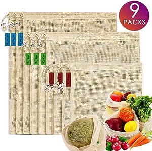 Reusable-Cotton-Mesh-Produce-shopping-Bags-Biodegradable Washable Eco Friendly Premium See Through Lightweight Net zero Bulk Bags for Veggie Fruit Vegetable Grocery Supermarket Storage Set of 9