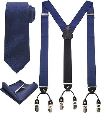 Herren Elastisch Hosenträger Krawatte Mit Einstecktuch Taschentuch Set