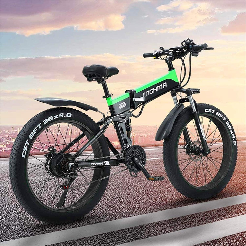 Alta velocidad Adulto eléctrica plegable de bicicletas, bicicletas de montaña de 26 pulgadas de nieve de la bici, batería de litio de 13Ah / 48V500W Motor, Faro 4.0 Fat Tire / LED y de carga USB del t