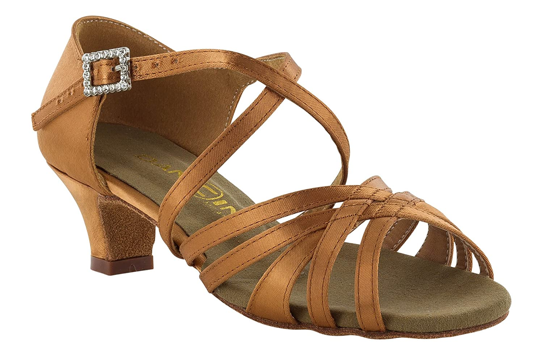 Tacco 3,5 cm Slim Scarpa da Ballo 5 Fasce in Raso Flesh con Incrocio sulla Caviglia