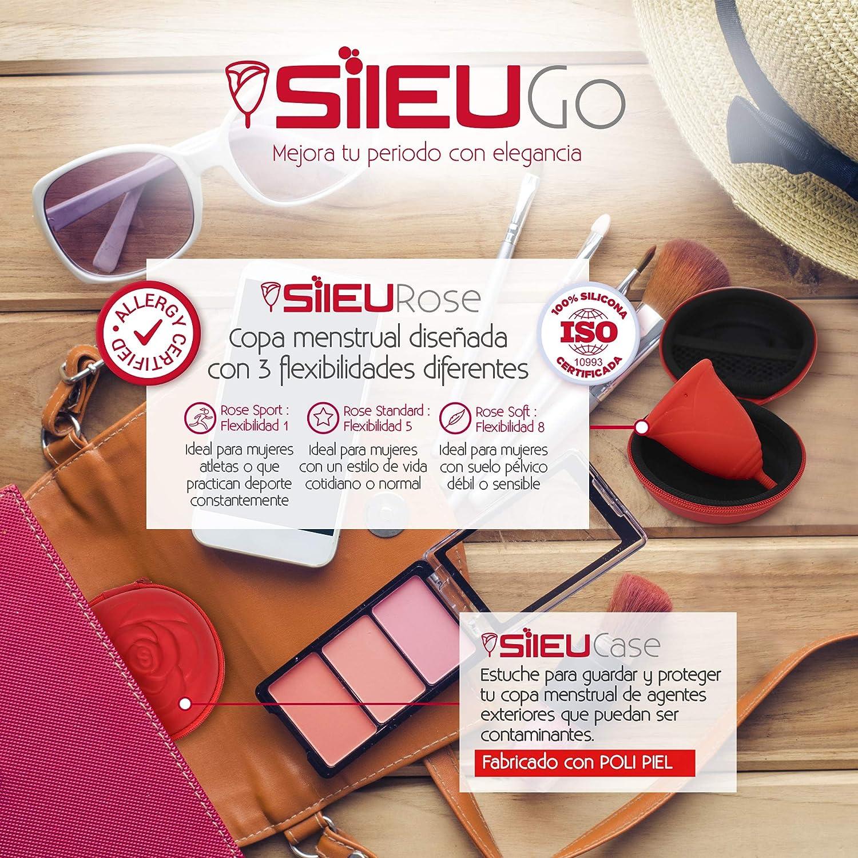 Pack Sileu Go: Copa menstrual Rose - Modelo de iniciación - Alternativa ecológica, natural a tampones y compresas - Talla XS, Rojo, Flexibilidad ...