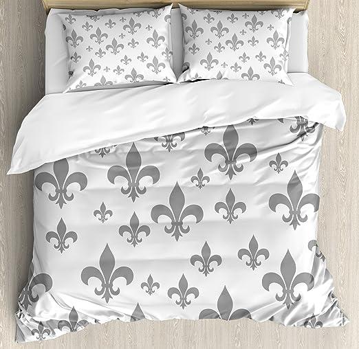 Blue Duvet Cover Set with Pillow Shams France Fleur de Lis Print