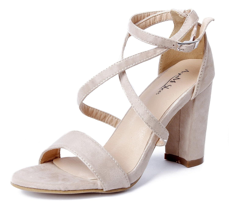 AgeeMi Shoes Femmes Sandales 15184 Chaussures Boucle AgeeMi Suède Soirée Peep Toe Bloc-Talon Chaussures Abricot 80c5ece - shopssong.space