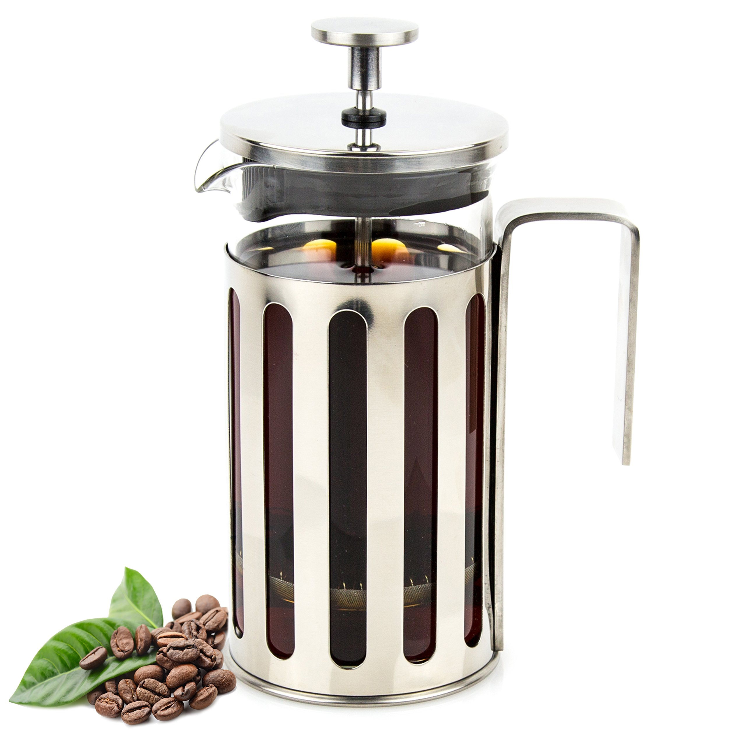 Envigorate French Press Coffee/Tea Maker Glass and Stainless Steel 350ml