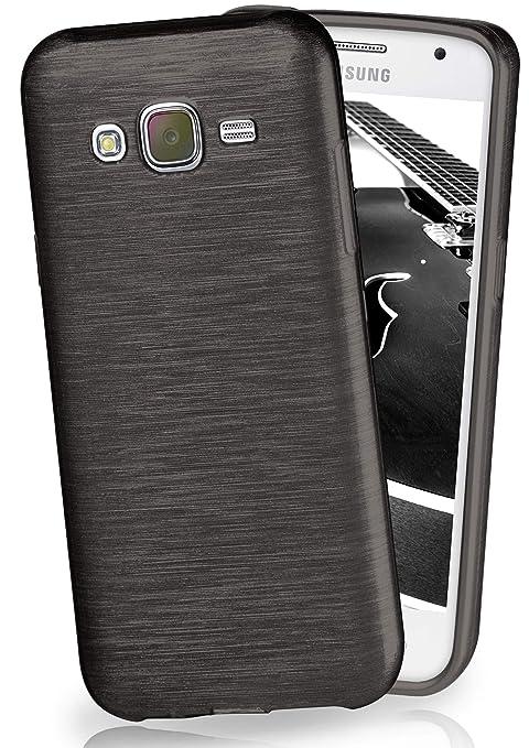 moex Samsung Galaxy J5 (2015) | Hülle Silikon Schwarz Brushed Back-Cover TPU Schutzhülle Ultra-Slim Handyhülle für Samsung Ga