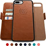 Dreem iPhone 7 PLUS Wallet Case with Detachable SlimCase, Fibonacci Luxury Series, Vegan Leather, RFID Protection, H/V Stands, Gift Box - Brown