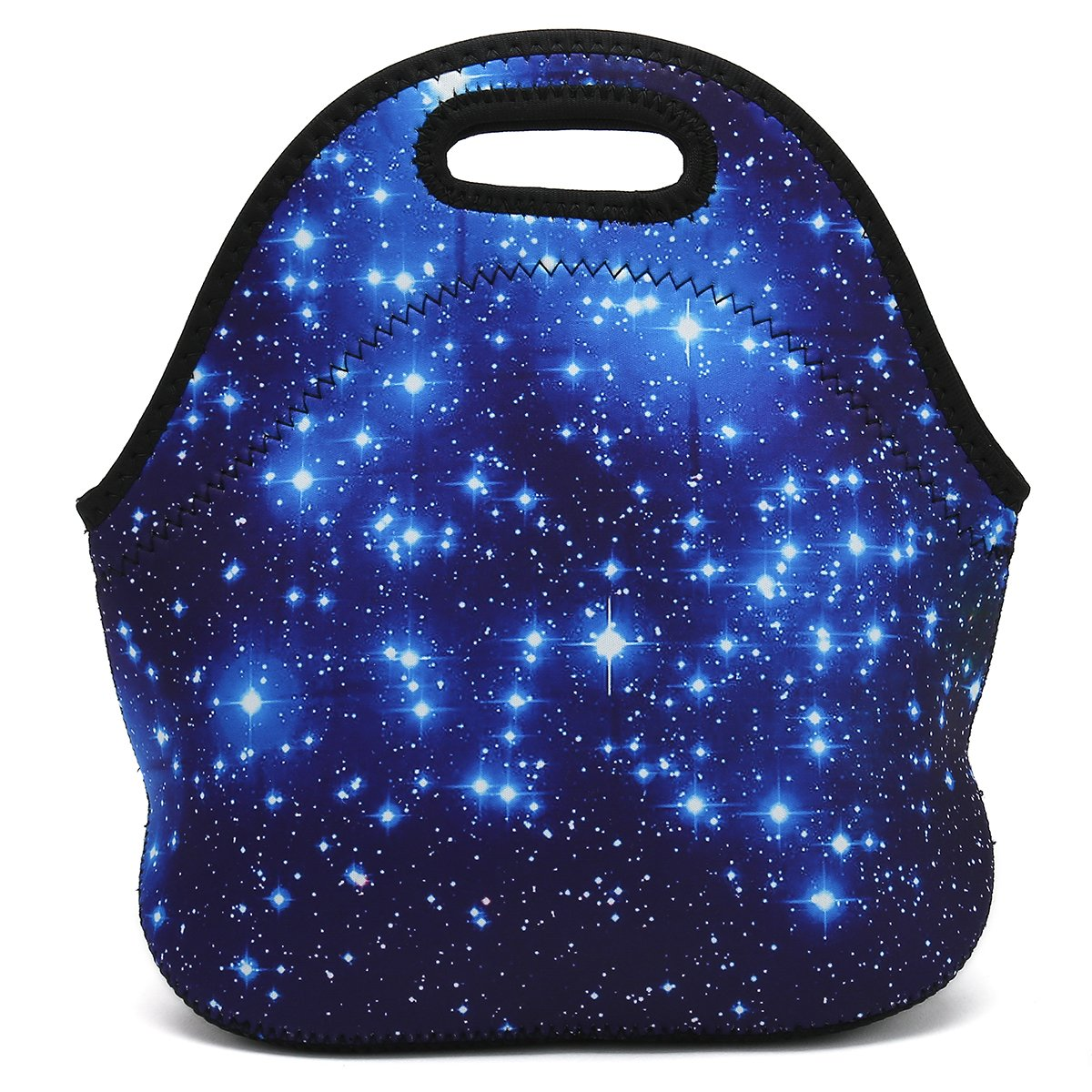 Boys Girls Kids Women Adults Insulated School Travel Outdoor Thermal Waterproof Carrying Lunch Tote Bag Cooler Box Neoprene Lunchbox Container Case (Starry Sky)