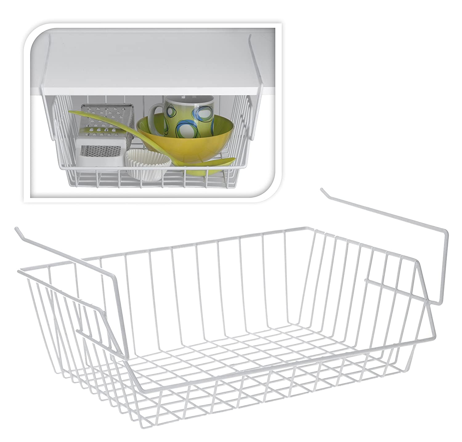Large White under Shelf Storage Basket Rack Holder Kitchen Bin Bathroom Organizer Space Saving(SI-K1010) by FunkyBuys