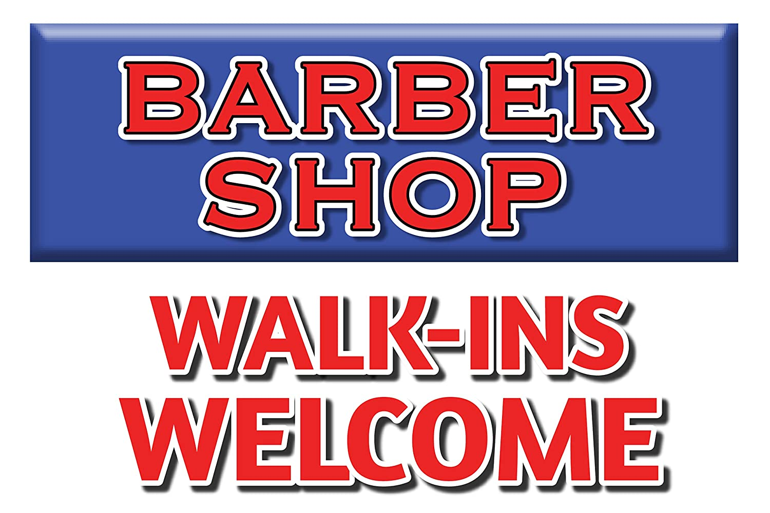 Amazon.com: BannerBuzz Barber Shop Walk-ins – Cartel de ...
