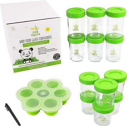Smile/&Green pot de conservation en verre /écologique et z/éro d/échets facile /à remplir et /à nettoyer Lot de 12