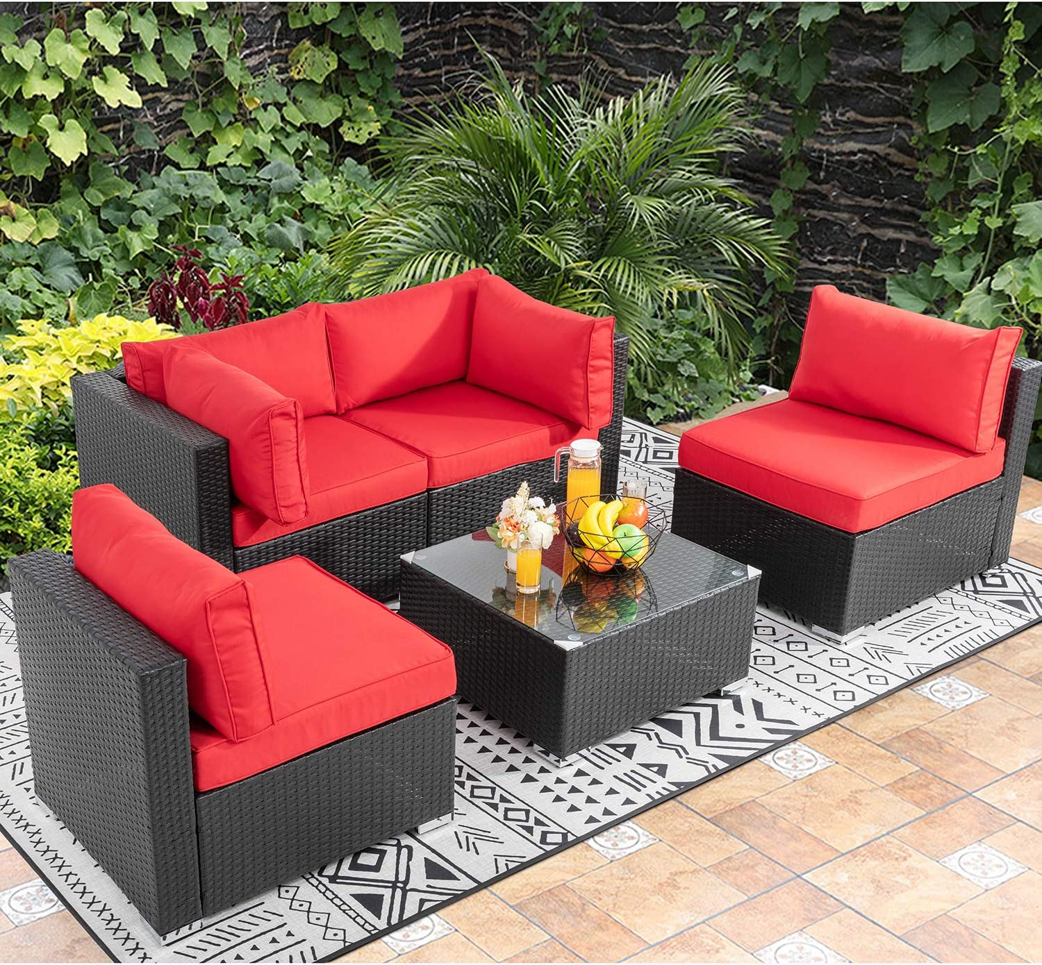 Walsunny 5pcs Patio Outdoor Furniture Sets, Low Back All-Weather Rattan Sectional Sofa with Tea Table&Washable Couch Cushions (Black Rattan) (Red) : Garden & Outdoor