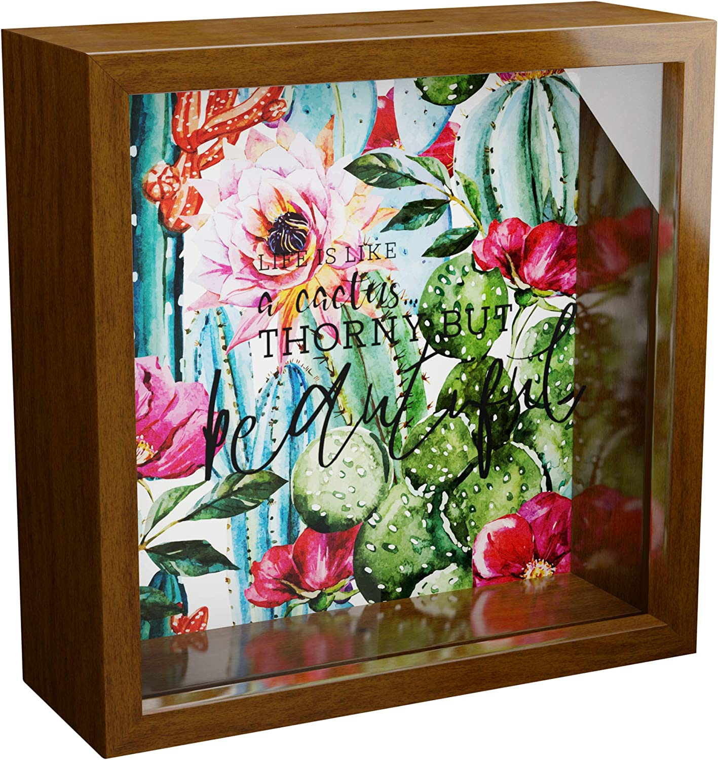 Cactus Gifts | 6x6x2 Memorabilia Shadow Box for Cactus Lovers | Decorative Wooden Keepsake Frame for Girls | Ideal Plant Decorations for Bedroom | Unique Cactus Wall Decor for Home & Kitchen