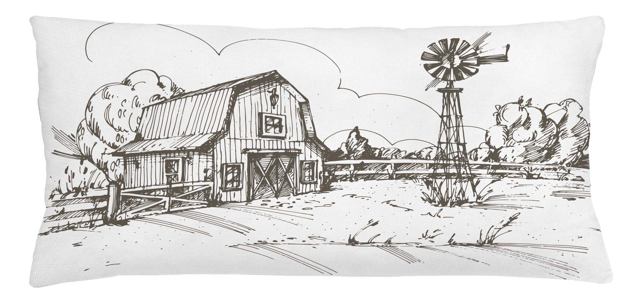 Ambesonne Windmill Throw Pillow Cushion Cover, Rustic Barn Farmhouse Hand Drawn Illustration Countryside Rural Meadow, Decorative Square Accent Pillow Case, 36 X 16 Inches, Dark Brown and White
