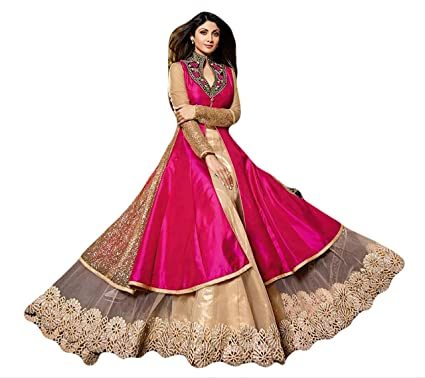 Justkartit Womens Pink Golden Colour Lehenga Gown Style Dress Material Wedding Wear