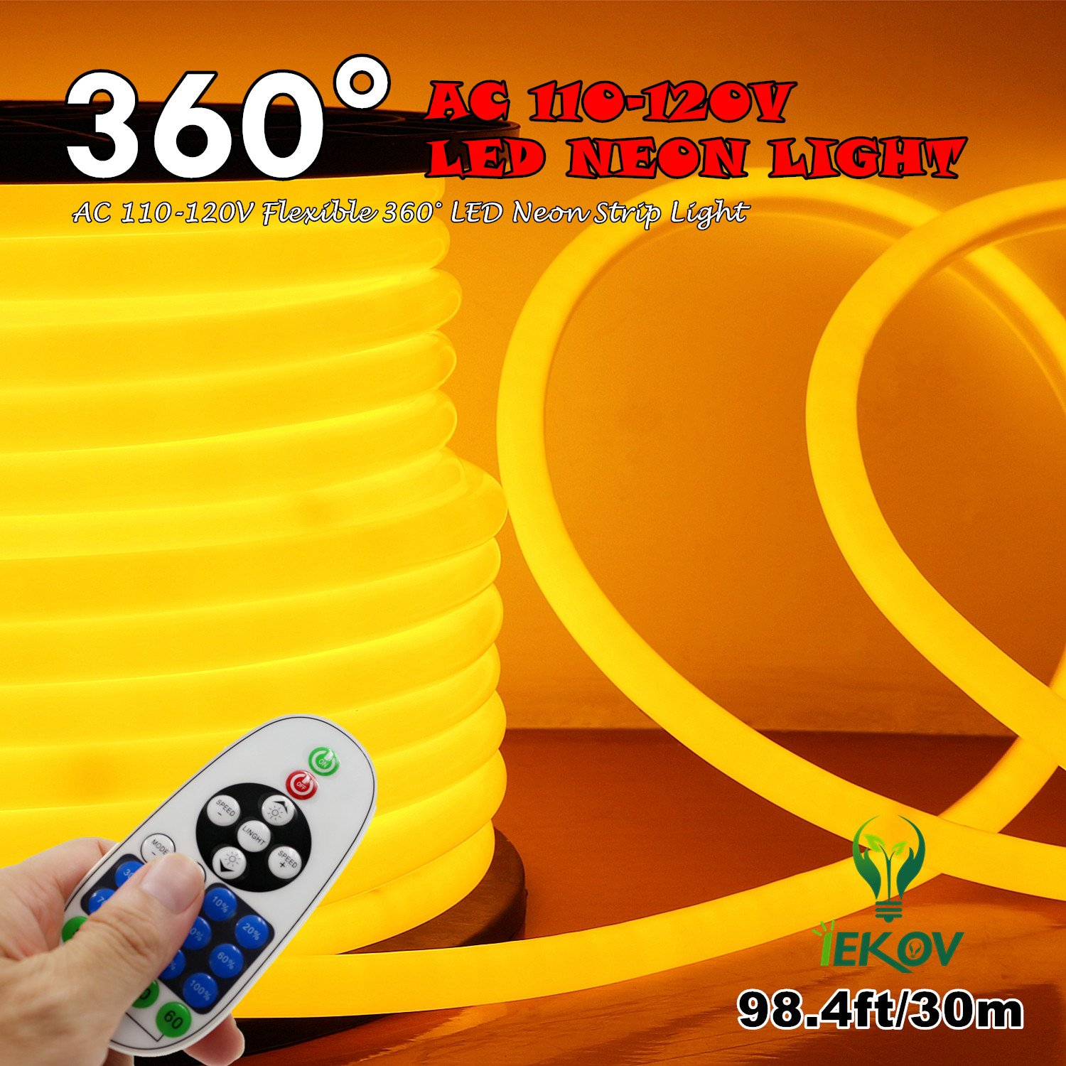 [UPGRADE] 360° LED NEON LIGHT, IEKOV™ AC 110-120V Flexible 360 Degree LED Neon Strip Light, Dimmable & Waterproof NEON LED Rope Light+Remote Controller (98.4ft/30m, Golden Yellow)