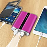 PowerMaster Portable Power Bank 12,000 mAh Dual USB Charging Ports Power Indicator With LED Flashlight and Charge Protection (Pink)