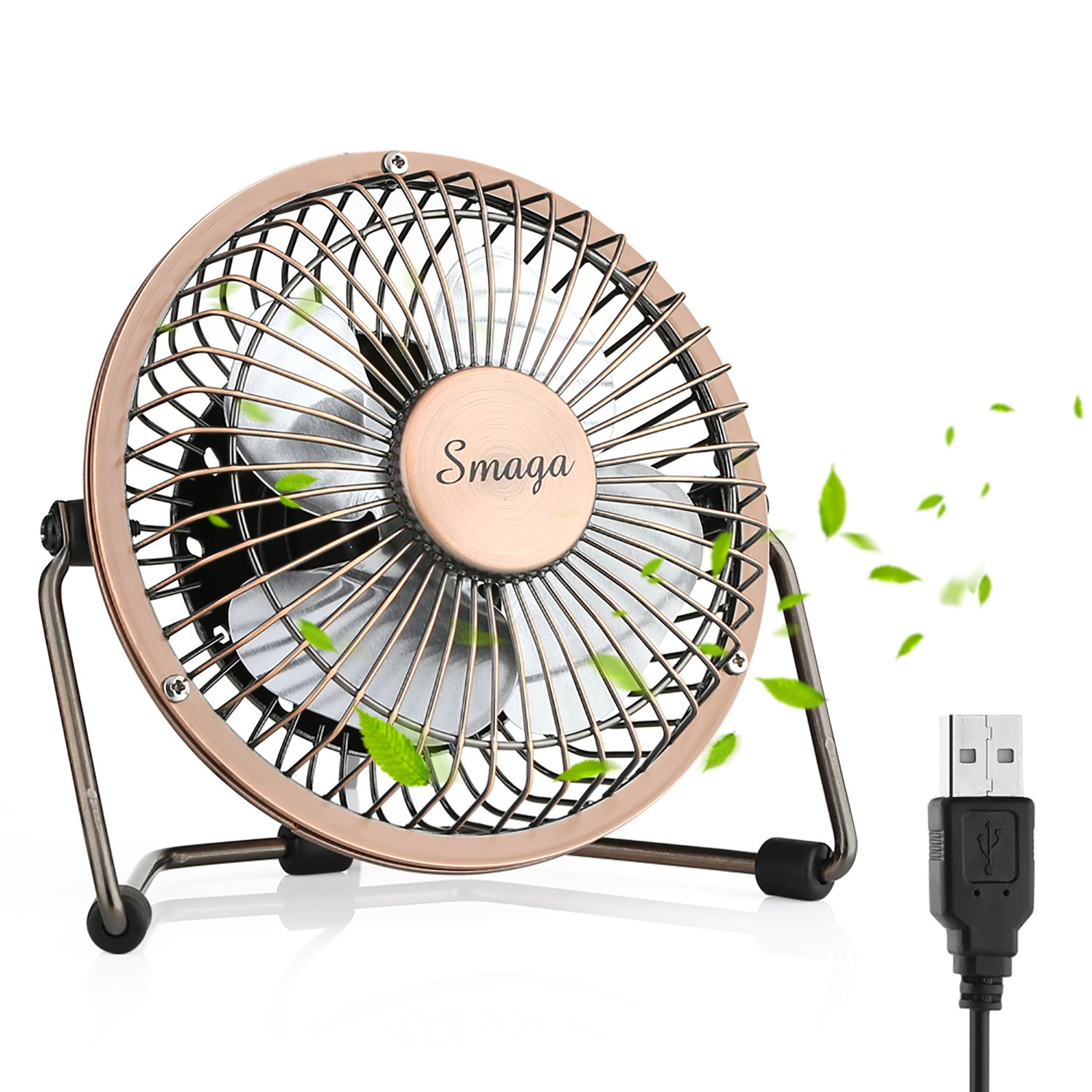 Mini USB Personal Desk Fan - 4'' & Metal & Retro & Quiet & Portable & Free Angle Rotation & ON/OFF Switch & Best for Home, Household, Table, Office, School, Outdoor Travel (Bronze) SMAGA