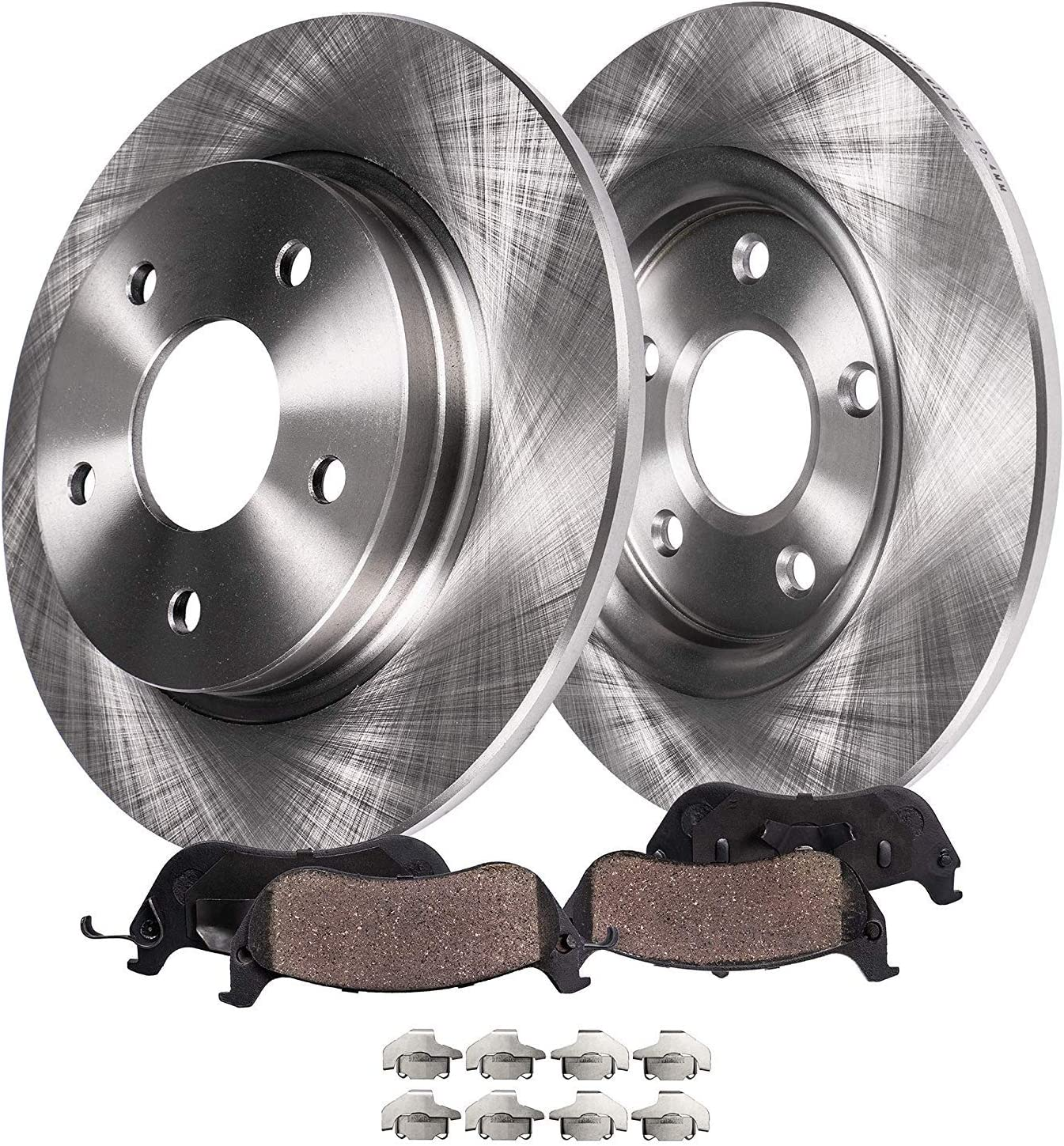 04-08 Grand Prix No GXP Detroit Axle 11-12 Impala Drilled /& Slotted Rear Brake Kit Rotors /& Brake Kit Pads w//Clips Hardware Kit for 05-08 Buick Allure 2005-2009 Buick LaCrosse