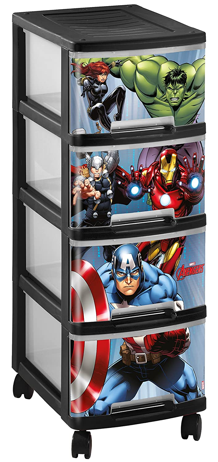 Curver 230773Tower with Marvel Black Plastic 4Drawers/Wheels 27x 36x 68cm
