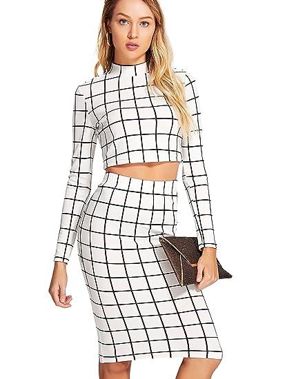 c0204a41c Romwe Women's Grid Crop Top Pencil Skirt 2 Piece Set Bodycon Mini Dress at  Amazon Women's Clothing store: