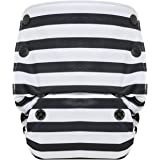 GroVia Reusable All in One Snap Baby Cloth Diaper (AIO) (Onyx Stripe)
