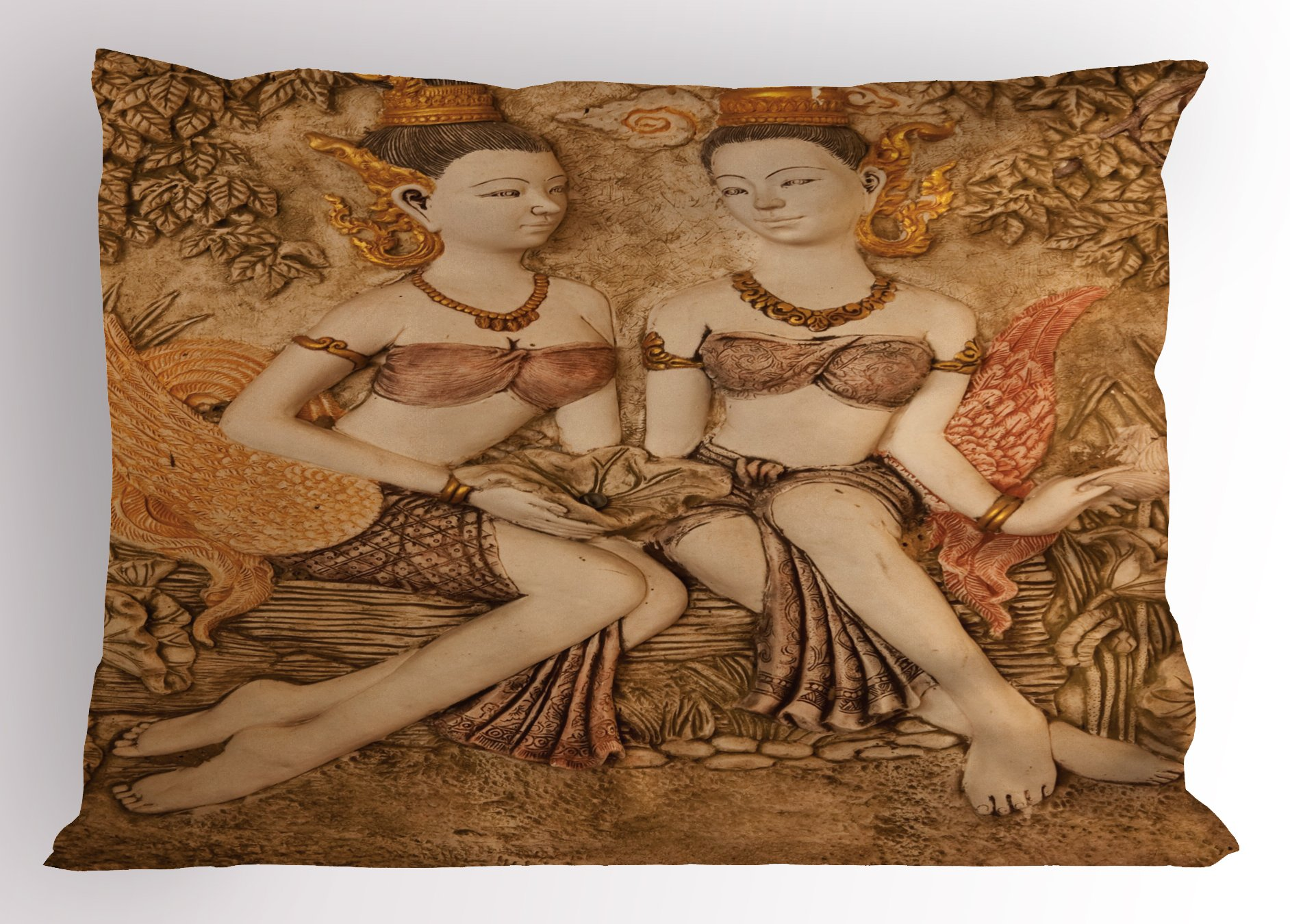 Lunarable Sculptures Pillow Sham, Native Thai Style Molding Art Asian Traditional Attire Temple Culture, Decorative Standard King Size Printed Pillowcase, 36 X 20 inches, Beige Brown Mustard by Lunarable