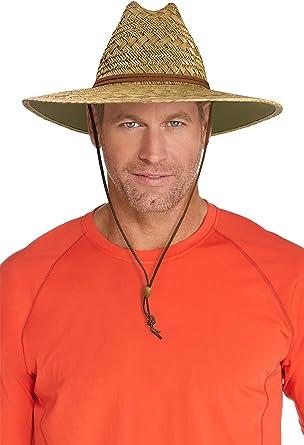 0d371b6ad55 Coolibar UPF 50+ Men s Bondi Straw Beach Hat - Sun Protective at Amazon  Men s Clothing store