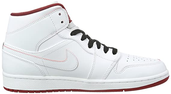 Amazon.com: Nike Mens Air Jordan 1 Mid White/Black/Gym Red Basketball Shoe - 11 D(M) US: Sports & Outdoors