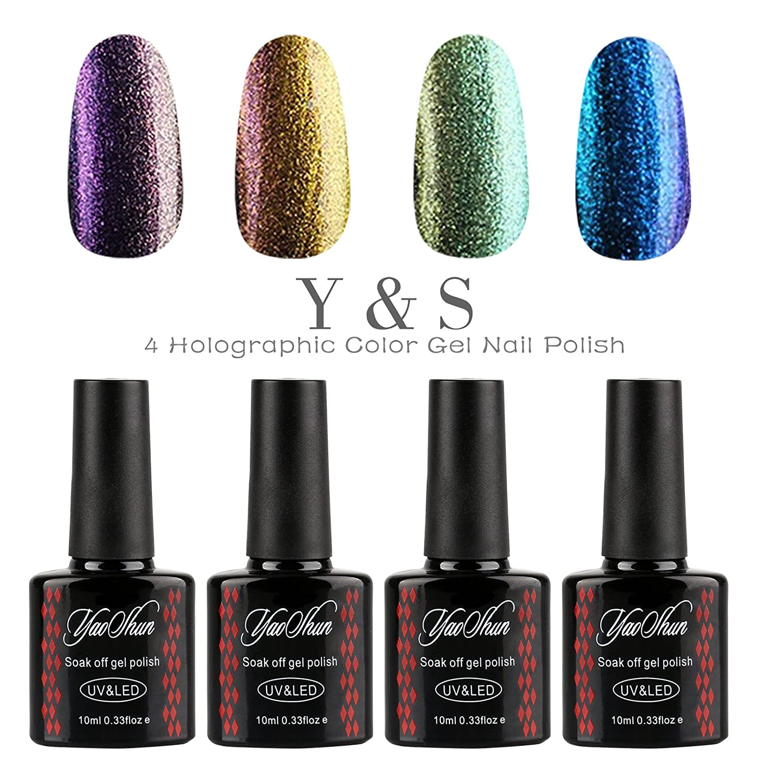 Amazon.com: Y&S Holographic Glitter Gel Nails Polish UV LED ...