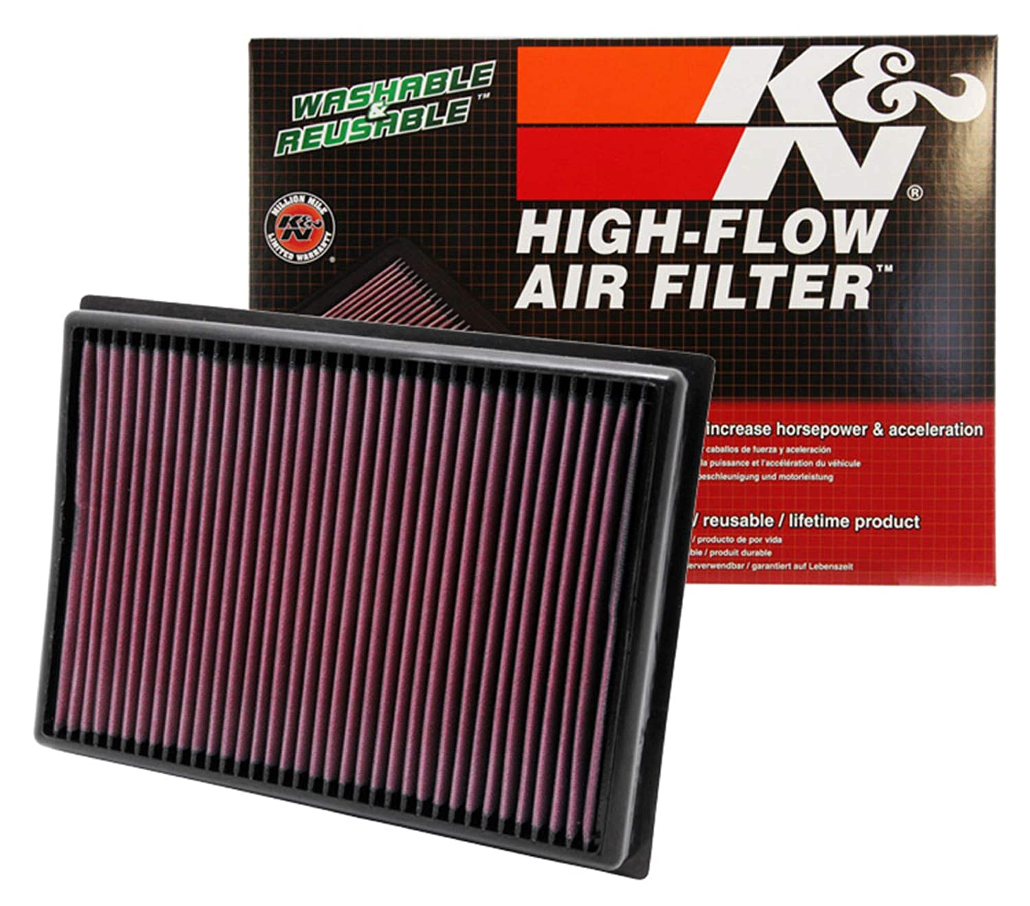 K&N engine air filter, washable and reusable: 2010-2019 Toyota/Lexus SUV V6/V8 (4runner, GX460, Land Cruiser, FJ Cruiser, Prado) 33-2438