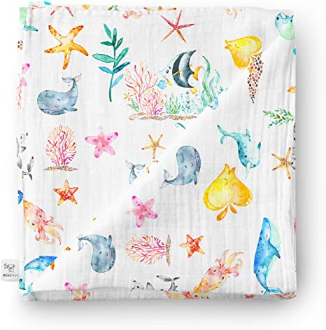 Minimuu - Manta para bebé (algodón orgánico, 120 x 120 cm), diseño de animales marinos: Amazon.es: Bebé