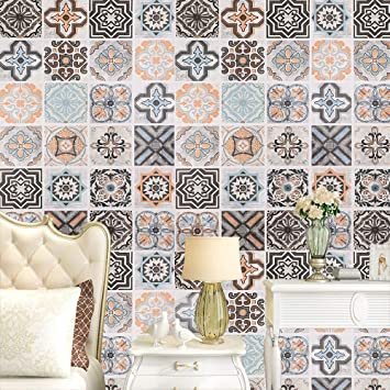 Buy Moroccan Tile Graphic Pattern Peel And Stick Wallpaper Self Adhesive And Removable Vintage Wall Mural Home Decorative Easy To Use Wall Coverings 24in 9 8ft Online At Low Prices In India