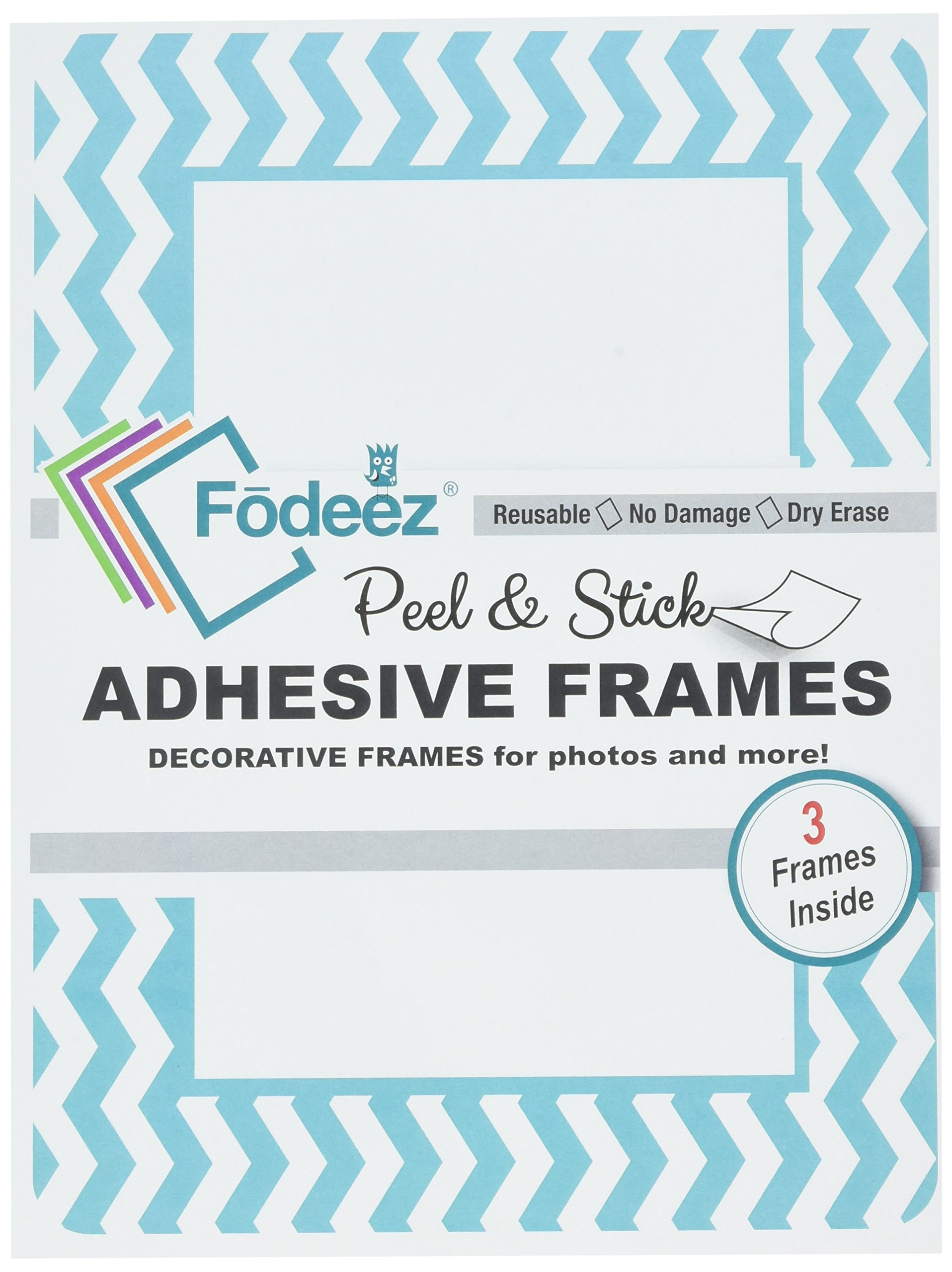 Fodeez Frames Peel & Stick Reusable Adhesive Picture Frames/Dry Erase Boards for Non-Magnetic Refrigerators, Solid Wood, Smooth Walls, etc, 4'' X 6'', Chevron Teal, Pack of 3 (FF-46-03-CHEV-TEAL)